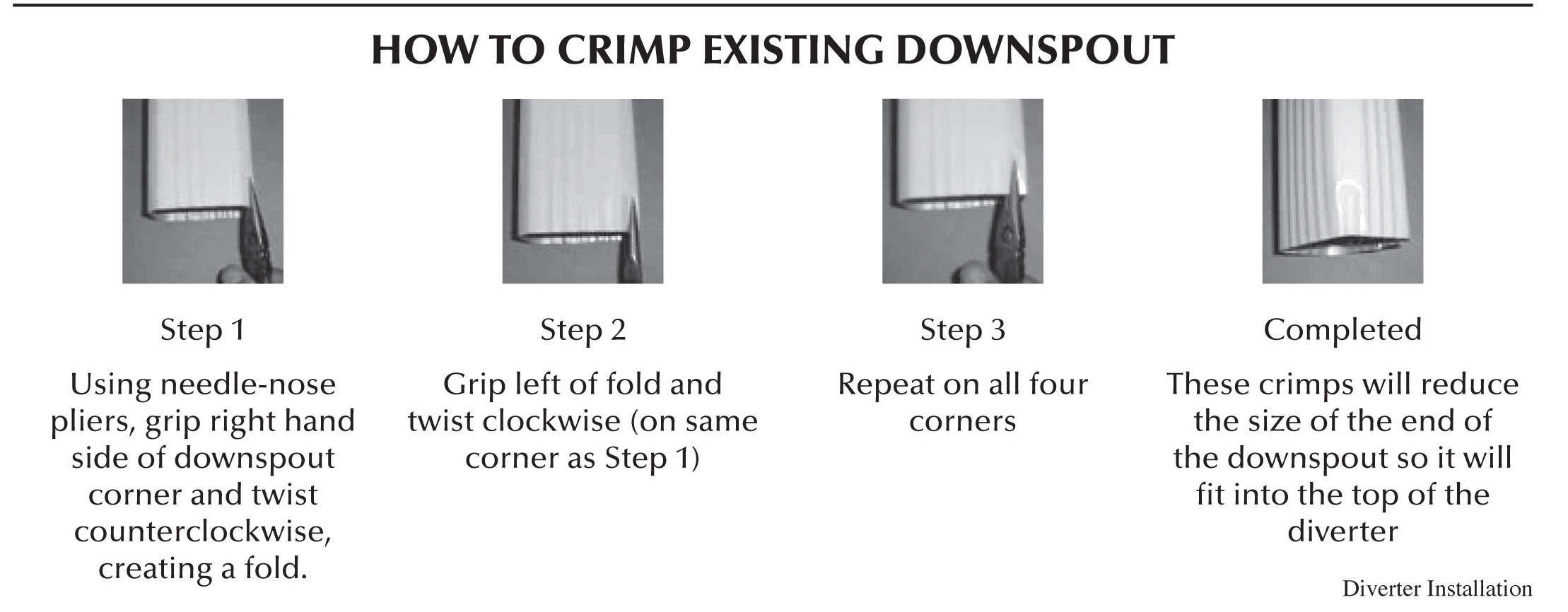 How to crimp a gutter downspout instruction image